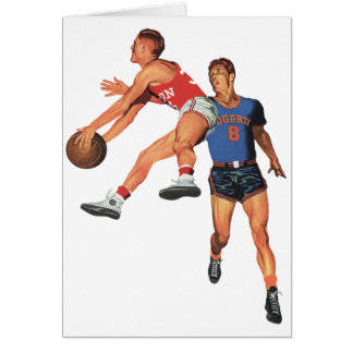 Vintage Sports, Men Basketball Players with Ball Card