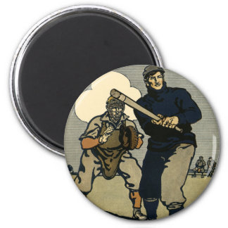 Vintage Sports, Stylized Baseball Players Game Refrigerator Magnets