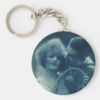 Vintage Sports Tennis, Love and Romance Basic Round Button Keychain