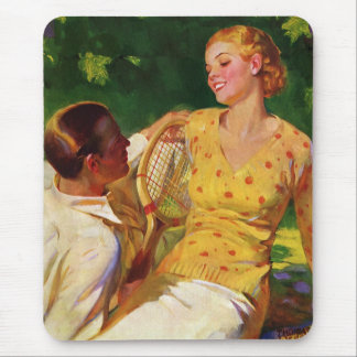 Vintage Sports Tennis Love and Romance Mouse Pads