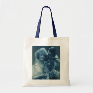 Vintage Sports Tennis, Love and Romance Budget Tote Bag