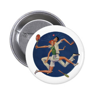 Vintage Sports, Tennis Players Crash with Rackets 6 Cm Round Badge