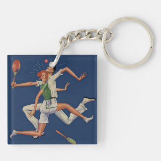 Vintage Sports, Tennis Players Crash with Rackets Key Ring