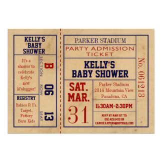 Vintage Sports Ticket Baby Shower Invite -Football
