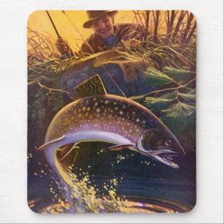 Vintage Sports Trout Fishing; Catch and Release Mousepads