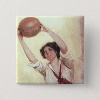 Vintage Sports, Woman Basketball Player with Ball 15 Cm Square Badge
