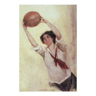 Vintage Sports, Woman Basketball Player with Ball Poster