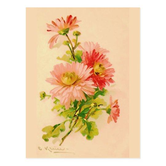Vintage Spring Bouquet Postcard