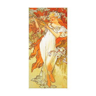Vintage Spring by Alphonse Mucha Gallery Wrapped Canvas