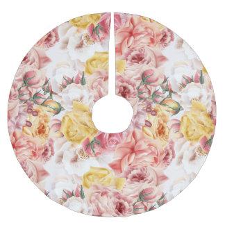 Vintage spring floral bouquet grunge pattern brushed polyester tree skirt