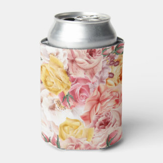Vintage spring floral bouquet grunge pattern can cooler