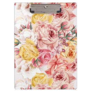 Vintage spring floral bouquet grunge pattern clipboard