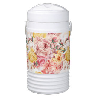 Vintage spring floral bouquet grunge pattern drinks cooler