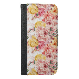 Vintage spring floral bouquet grunge pattern iPhone 6/6s plus wallet case
