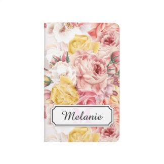 Vintage spring floral bouquet grunge pattern journal