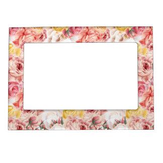 Vintage spring floral bouquet grunge pattern magnetic frame