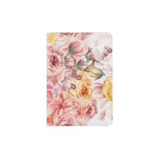 Vintage spring floral bouquet grunge pattern passport holder