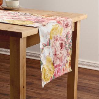 Vintage spring floral bouquet grunge pattern short table runner
