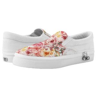 Vintage spring floral bouquet grunge pattern Slip-On shoes