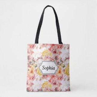 Vintage spring floral bouquet grunge pattern tote bag