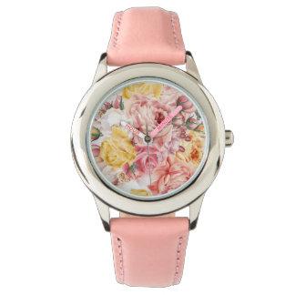 Vintage spring floral bouquet grunge pattern watch