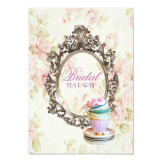 vintage spring floral cups bridal shower tea party 13 cm x 18 cm invitation card