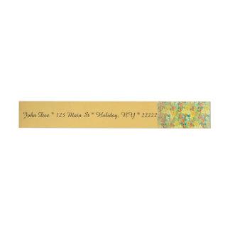 Vintage Spring Floral on Yellow Wraparound Address Label
