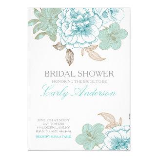 Vintage Spring Floral Rose Bridal Shower 13 Cm X 18 Cm Invitation Card