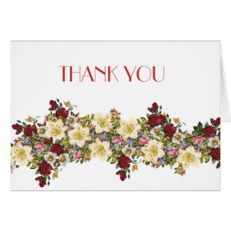 Vintage Spring Floral Thank you Greeting Card