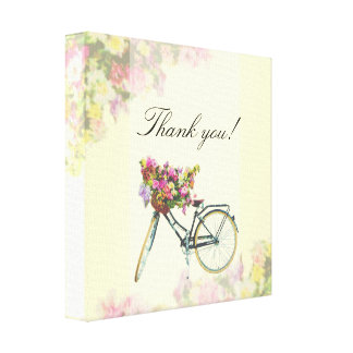 Vintage Spring Flowers Bike Canvas Print