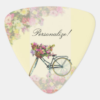Vintage Spring Flowers Bike Guitar Pick