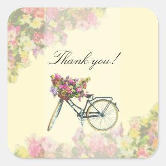 Vintage Spring Flowers Bike Square Sticker
