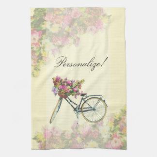 Vintage Spring Flowers Bike Tea Towel