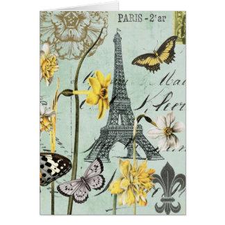 Vintage Springtime in Paris Eiffel Tower Notecard