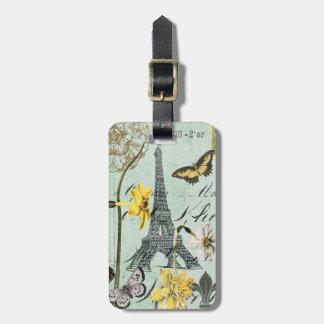 Vintage Springtime in Paris luggage tag