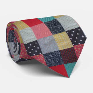 vintage squares of patchwork fabric colourful tie