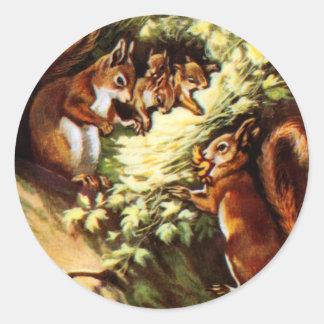 Vintage Squirrels Round Sticker