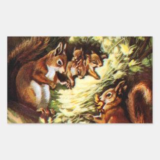 Vintage Squirrels Rectangle Sticker