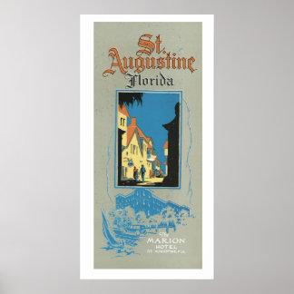 Vintage St. Augustine Florida Travel Ad Art Poster