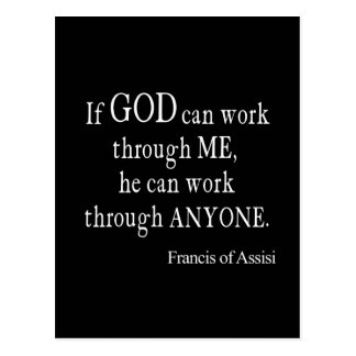 Vintage St. Francis of Assisi God Religious Quote Postcard