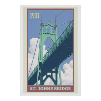 Vintage St. Johns Bridge Travel Poster
