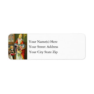 Vintage St. Nicholas With Children on Christmas Return Address Label