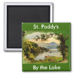 Vintage St. Paddy's By the Lake Square Magnet