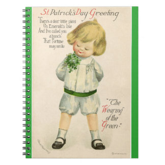 Vintage St Patrick greetings cute little blond boy Notebooks