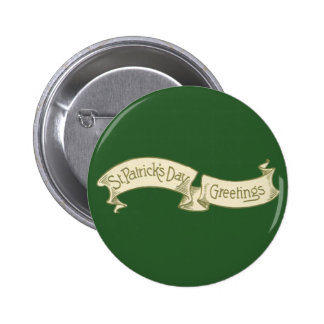 Vintage St Patrick s Day Greetings Banner Buttons
