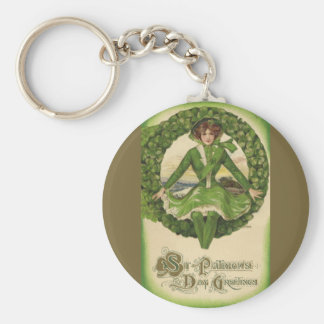 Vintage St Patrick s Day Greetings Key Chain