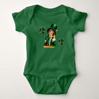 Vintage St Patricks Day Boy on Telephone Clovers Baby Bodysuit