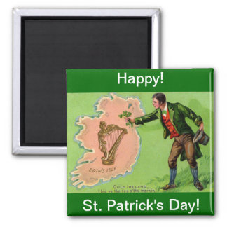 Vintage St. Patrick's Day Erin's Isle Magnet