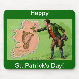 Vintage St. Patrick's Day Erin's Isle Mousepad