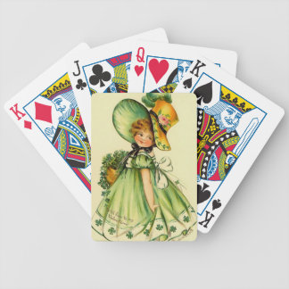 Vintage St. Patrick's Day Girl Bicycle Playing Cards